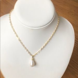 Large 10mm wide White Teardrop Pearl on Gold Chain